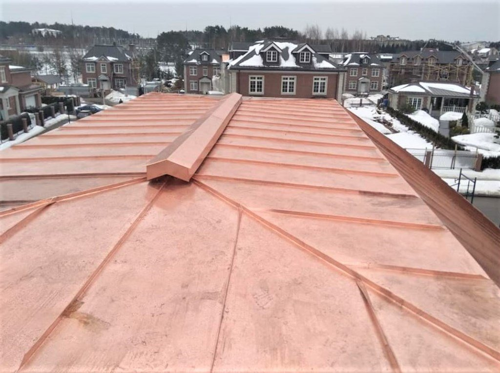 Oxidized copper standing seam roof