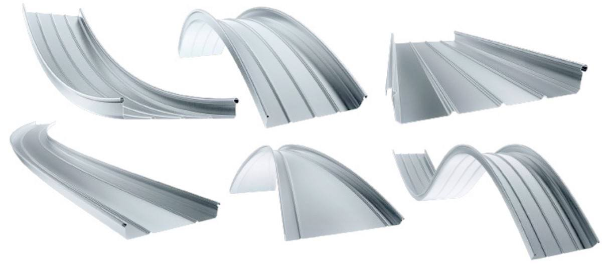 Curved standing seam profiles