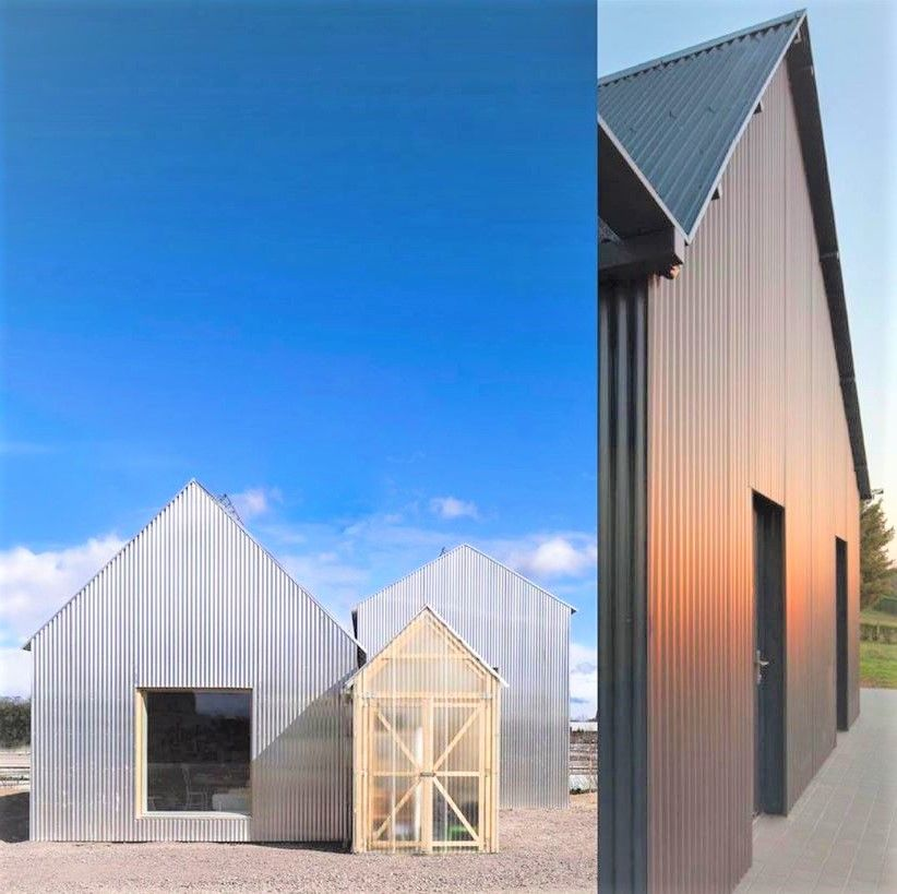 Corrugated panels for roofs and walls