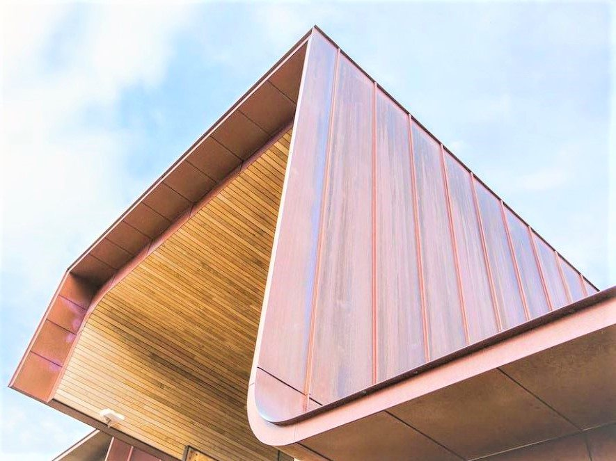 Copper standing seam roof and walls