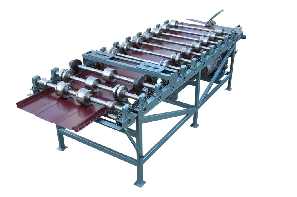 Roll forming machine for snap-lock standing seam profile