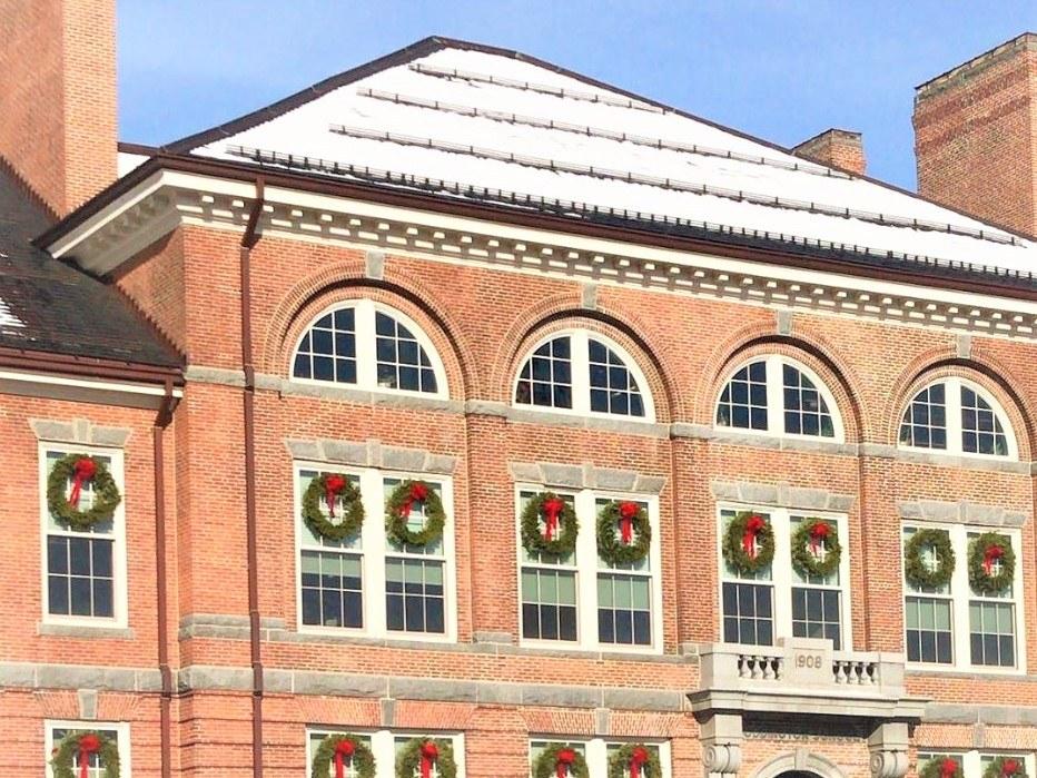 Tubular snow guards on slate roof